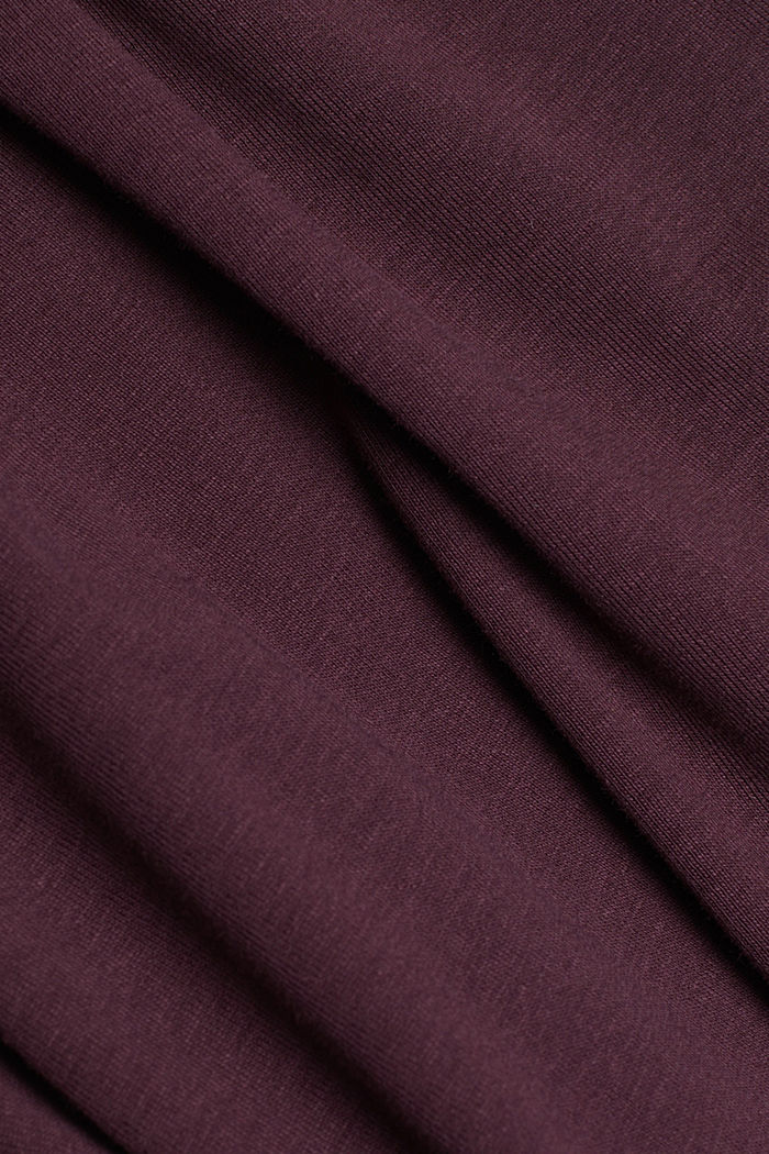 Feminine long sleeve top made of organic cotton, AUBERGINE, detail image number 4