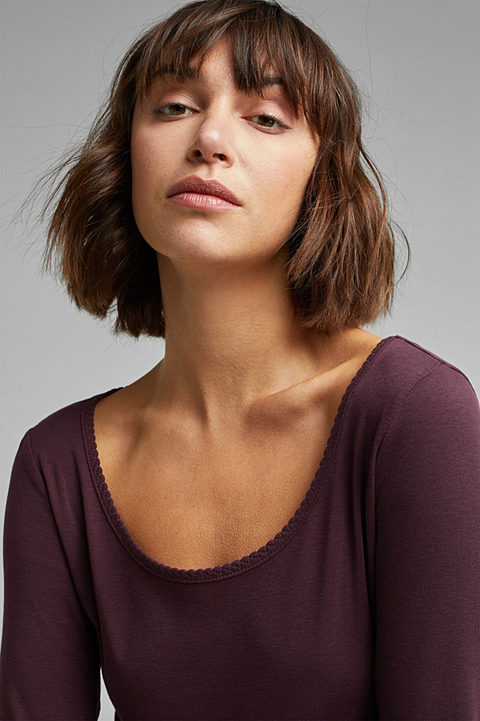 Feminine long sleeve top made of organic cotton, AUBERGINE, detail image number 5