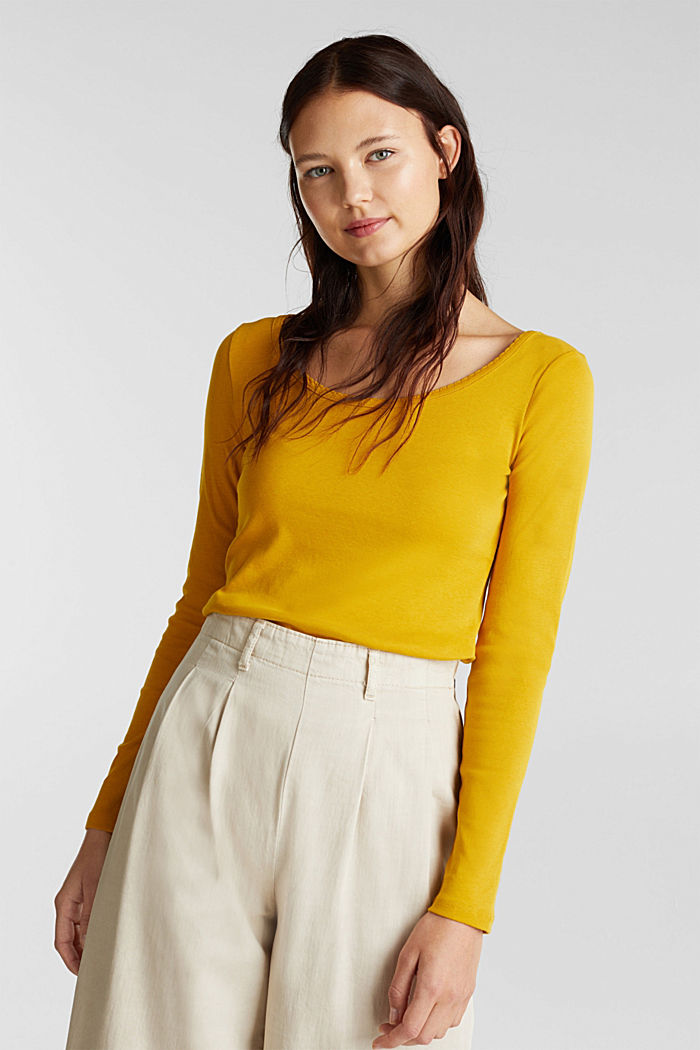 Feminine long sleeve top made of organic cotton, BRASS YELLOW, detail image number 0