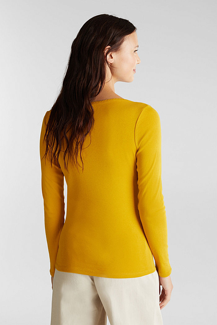 Feminine long sleeve top made of organic cotton, BRASS YELLOW, detail image number 3