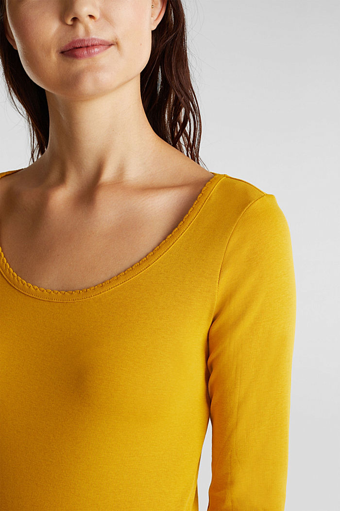 Feminine long sleeve top made of organic cotton, BRASS YELLOW, detail image number 2