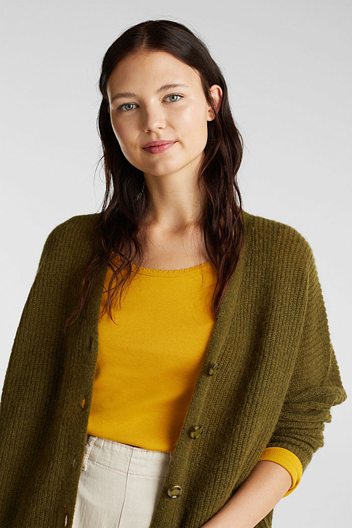 Feminine long sleeve top made of organic cotton, BRASS YELLOW, detail image number 6