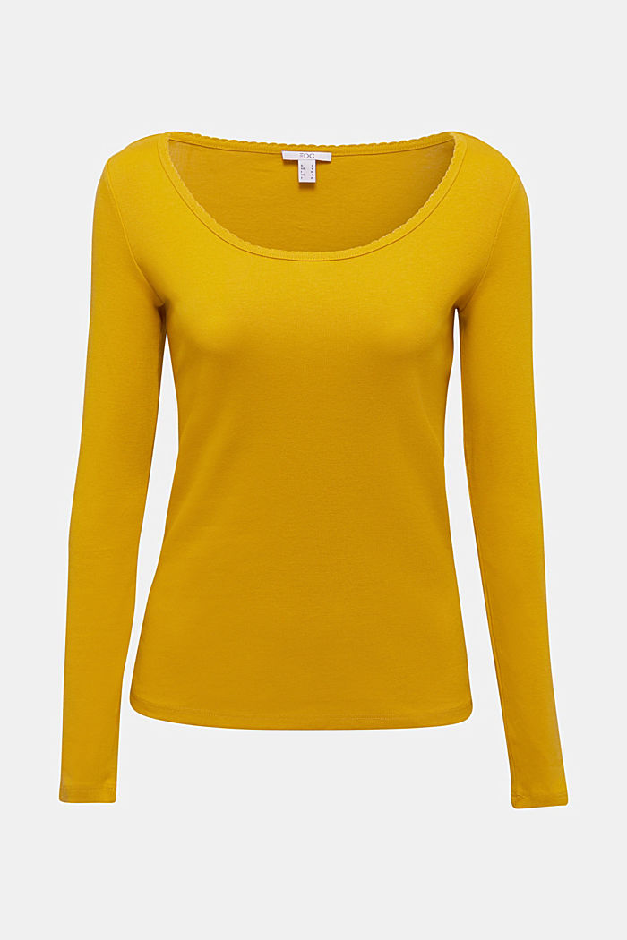 Feminine long sleeve top made of organic cotton, BRASS YELLOW, detail image number 7