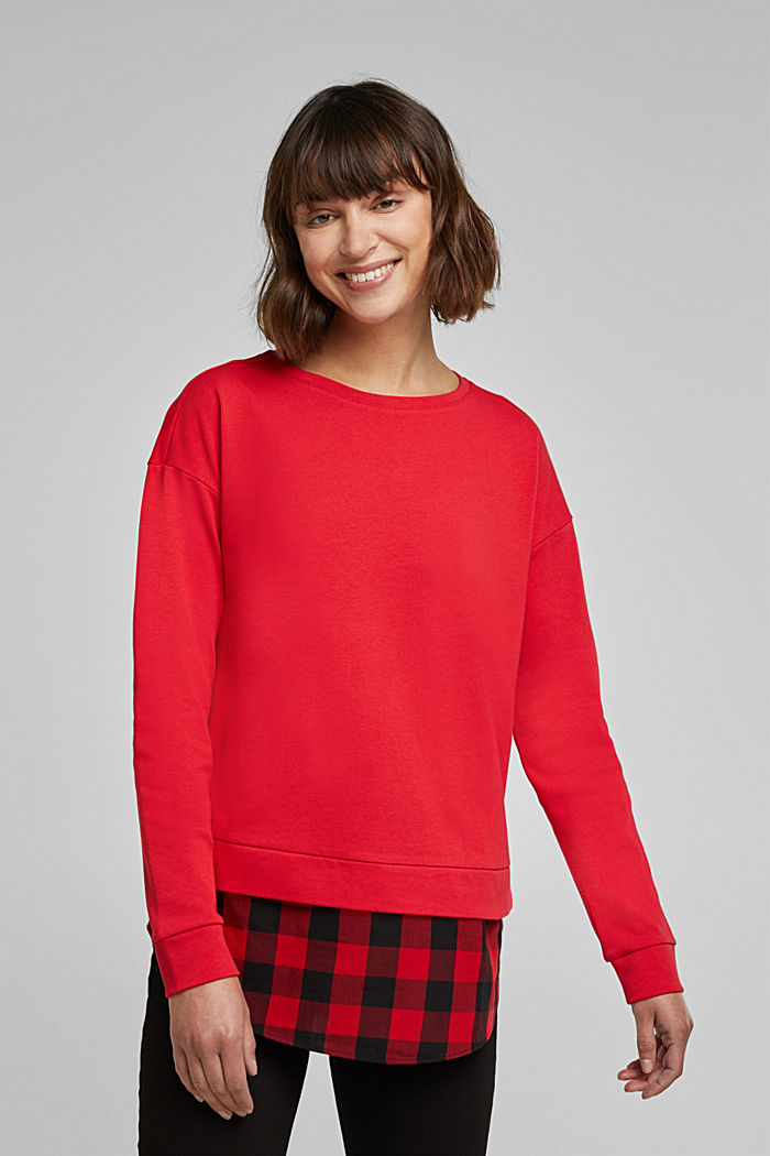 Sweatshirt in a layered look, organic cotton, RED, detail image number 0