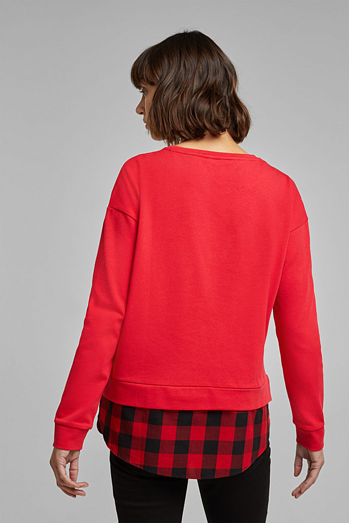 Sweatshirt in a layered look, organic cotton, RED, detail image number 3