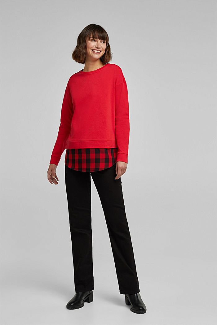 Sweatshirt in a layered look, organic cotton, RED, detail image number 1