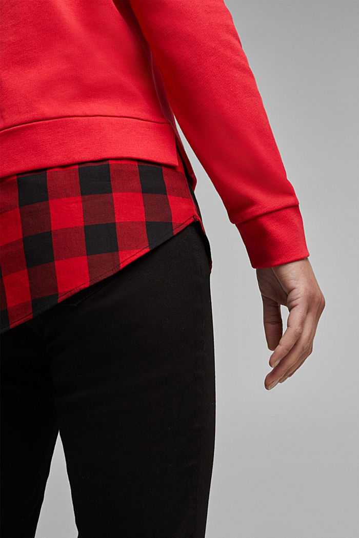 Sweatshirt in a layered look, organic cotton, RED, detail image number 2