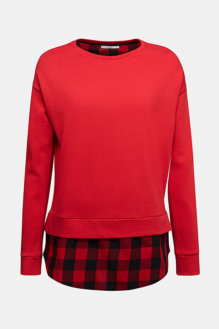Sweatshirt in a layered look, organic cotton, RED, detail image number 5