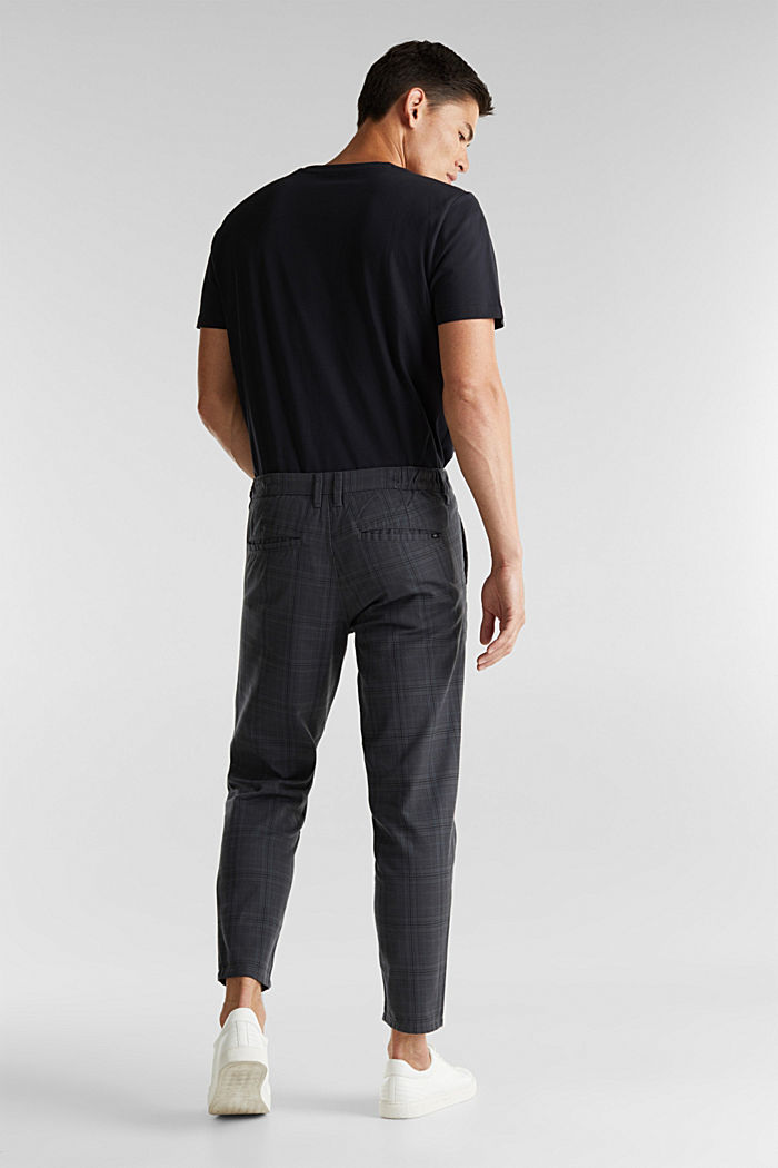 Prince of Wales check chinos with added stretch for comfort, DARK GREY, detail image number 2