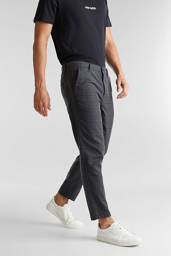 Prince of Wales check chinos with added stretch for comfort, DARK GREY, detail image number 5