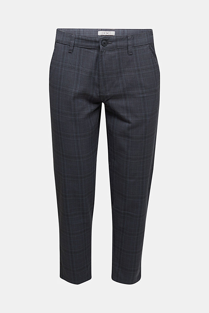Prince of Wales check chinos with added stretch for comfort, DARK GREY, overview