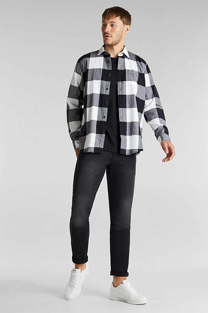 Flannel shirt made of 100% organic cotton, BLACK, detail image number 1