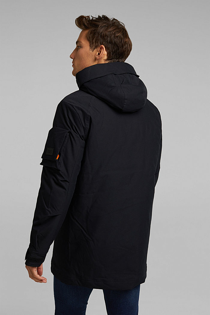 Padded parka with a hood, BLACK, detail image number 3