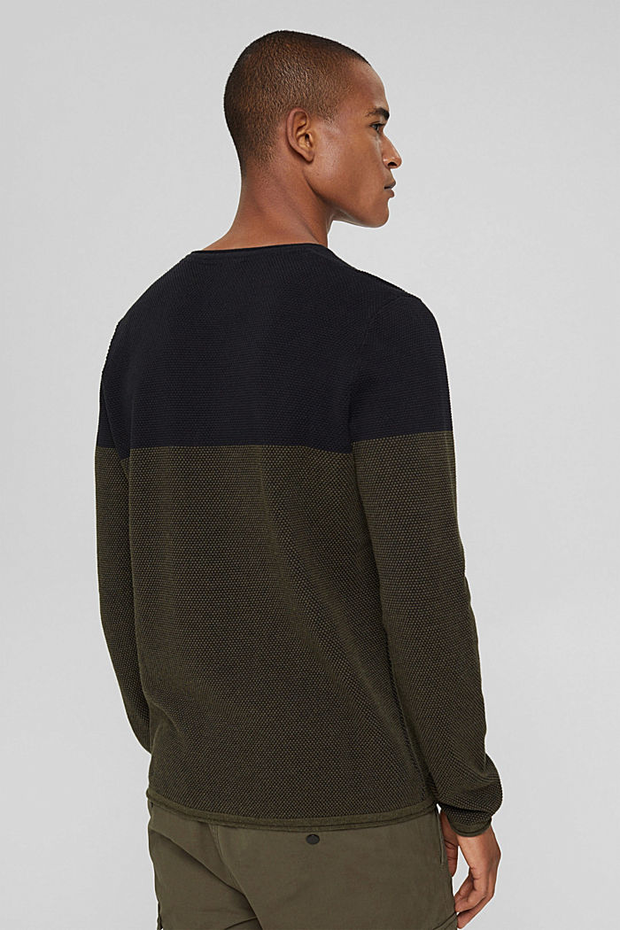 Textured jumper, 100% organic cotton, KHAKI GREEN, detail image number 3