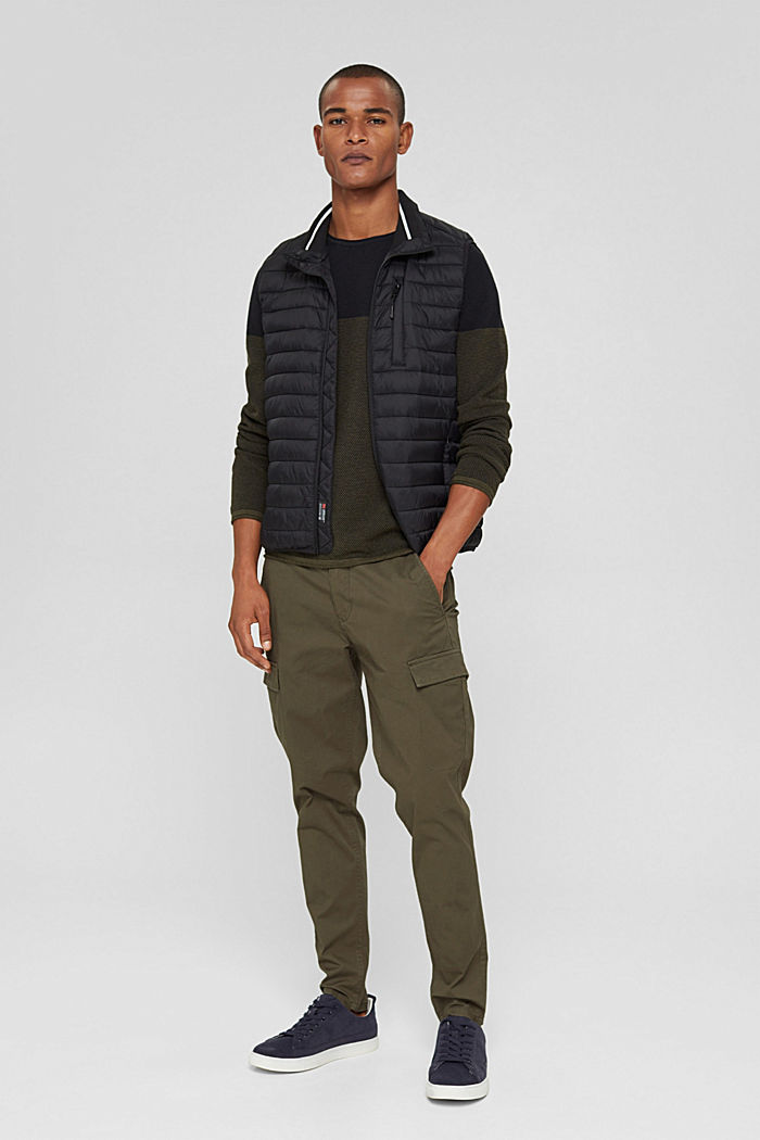 Textured jumper, 100% organic cotton, KHAKI GREEN, detail image number 1
