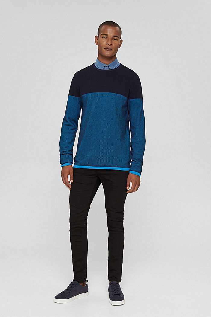 Struktur-Pullover, 100% Organic Cotton, BLUE, detail image number 1