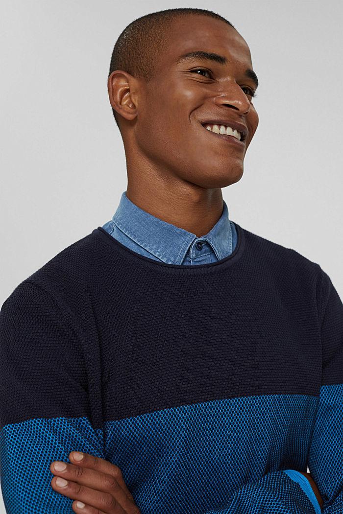 Struktur-Pullover, 100% Organic Cotton, BLUE, detail image number 5