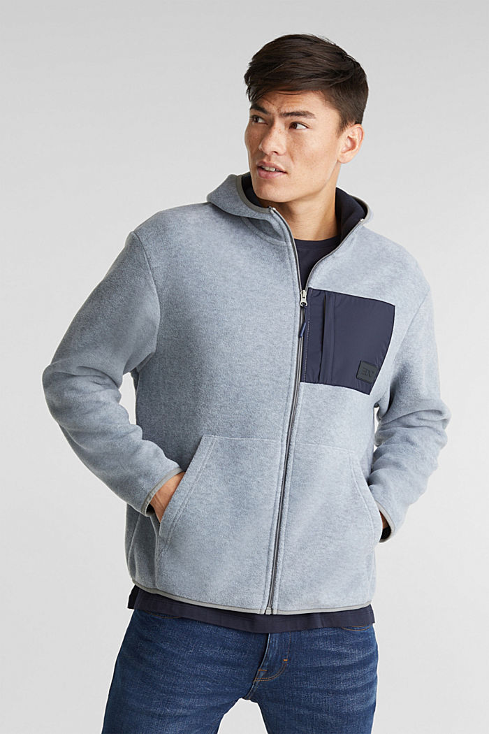 Fleece cardigan with a hood