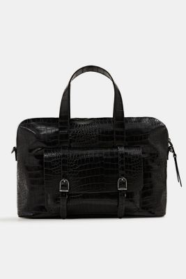 Vegan: faux leather business bag, BLACK, detail