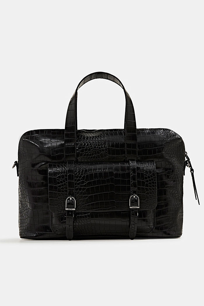 Vegan: faux leather business bag, BLACK, overview