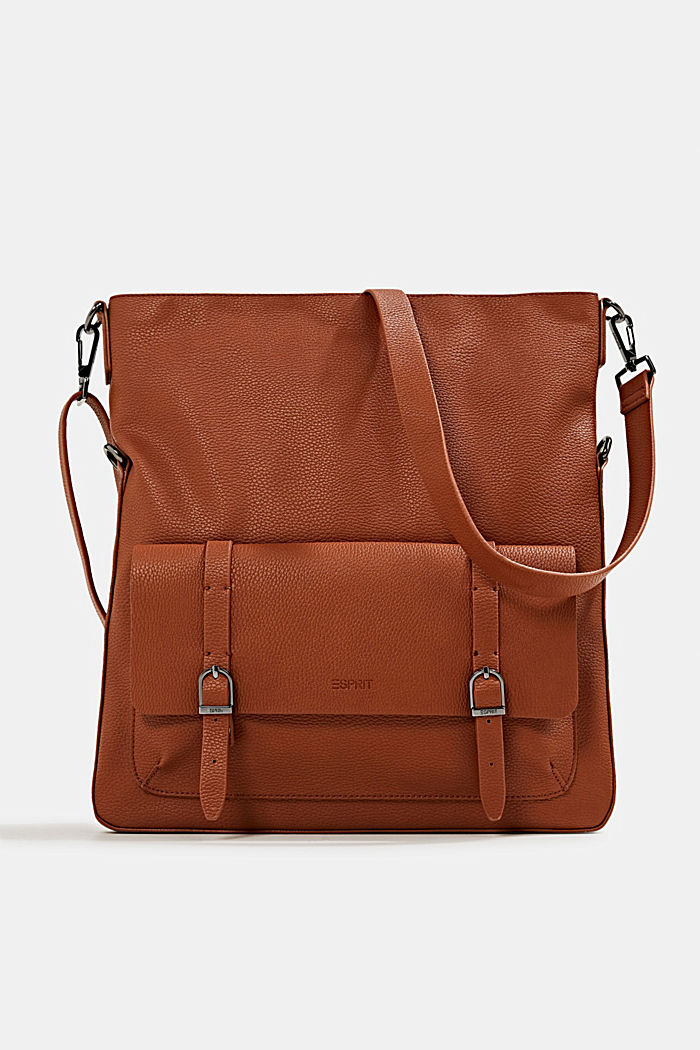 Vegan: faux leather shoulder bag, RUST BROWN, detail image number 0