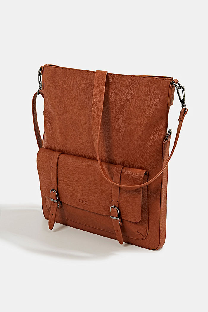 Vegan: faux leather shoulder bag, RUST BROWN, detail image number 2