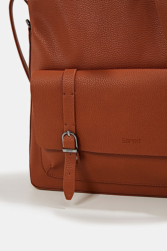 Vegan: faux leather shoulder bag, RUST BROWN, detail image number 4