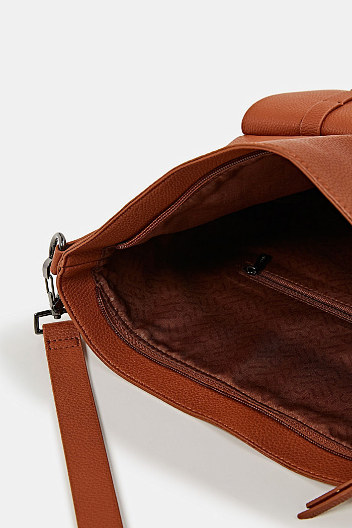 Vegan: faux leather shoulder bag, RUST BROWN, detail image number 3