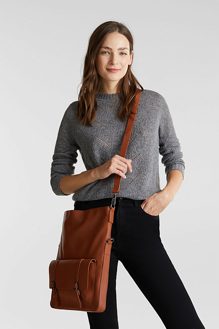 Vegan: faux leather shoulder bag, RUST BROWN, detail image number 1