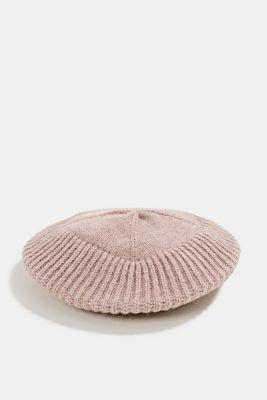 Knit beret with alpaca, MAUVE, detail