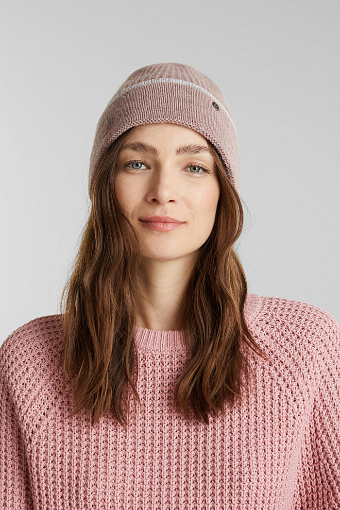 Knit beanie with alpaca, MAUVE, detail image number 2