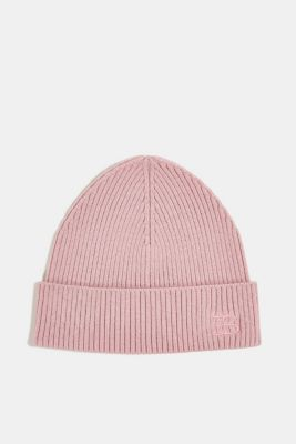 Rib knit beanie made of blended wool, MAUVE, detail