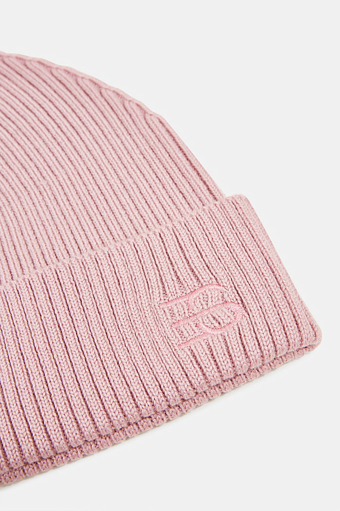 Rib knit beanie made of blended wool, MAUVE, detail image number 1