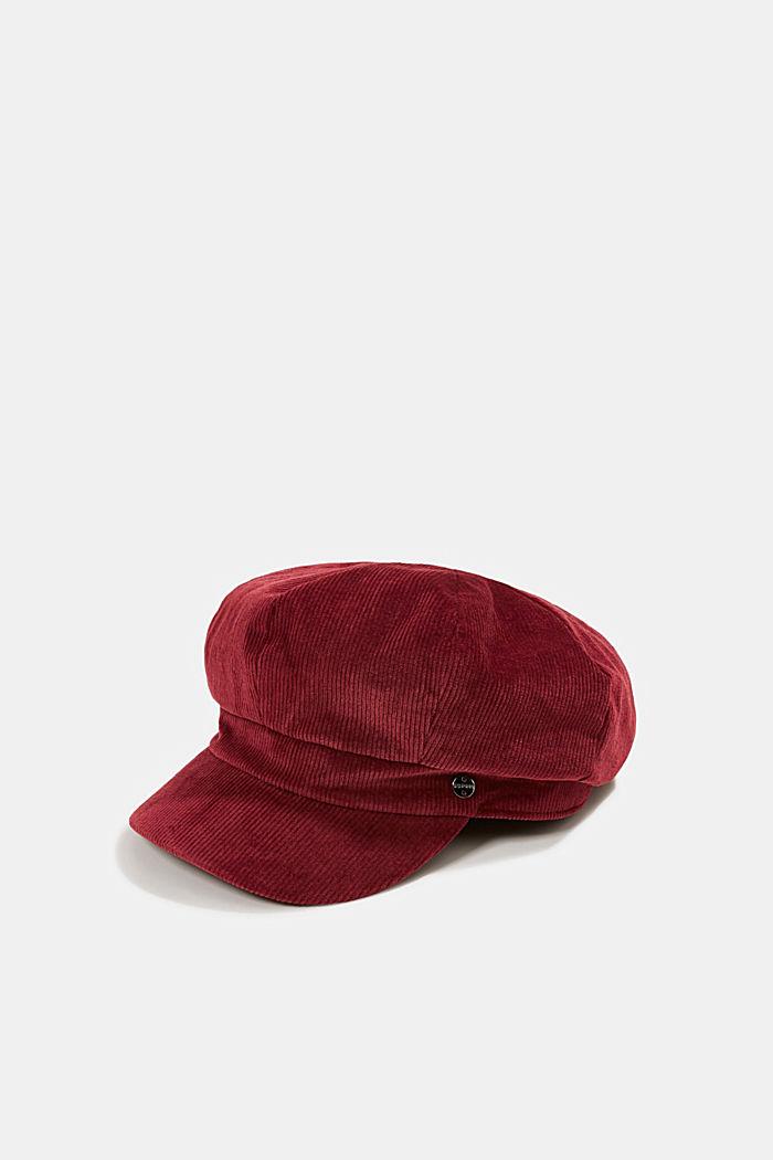 Corduroy baker boy cap, BORDEAUX RED, detail image number 0