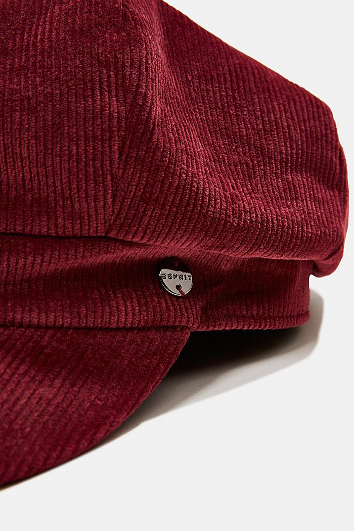Corduroy baker boy cap, BORDEAUX RED, detail image number 1