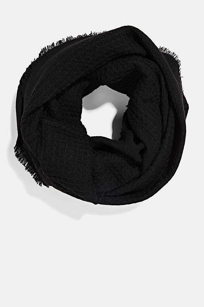 Recycled: mixed texture woven scarf, BLACK, detail image number 0