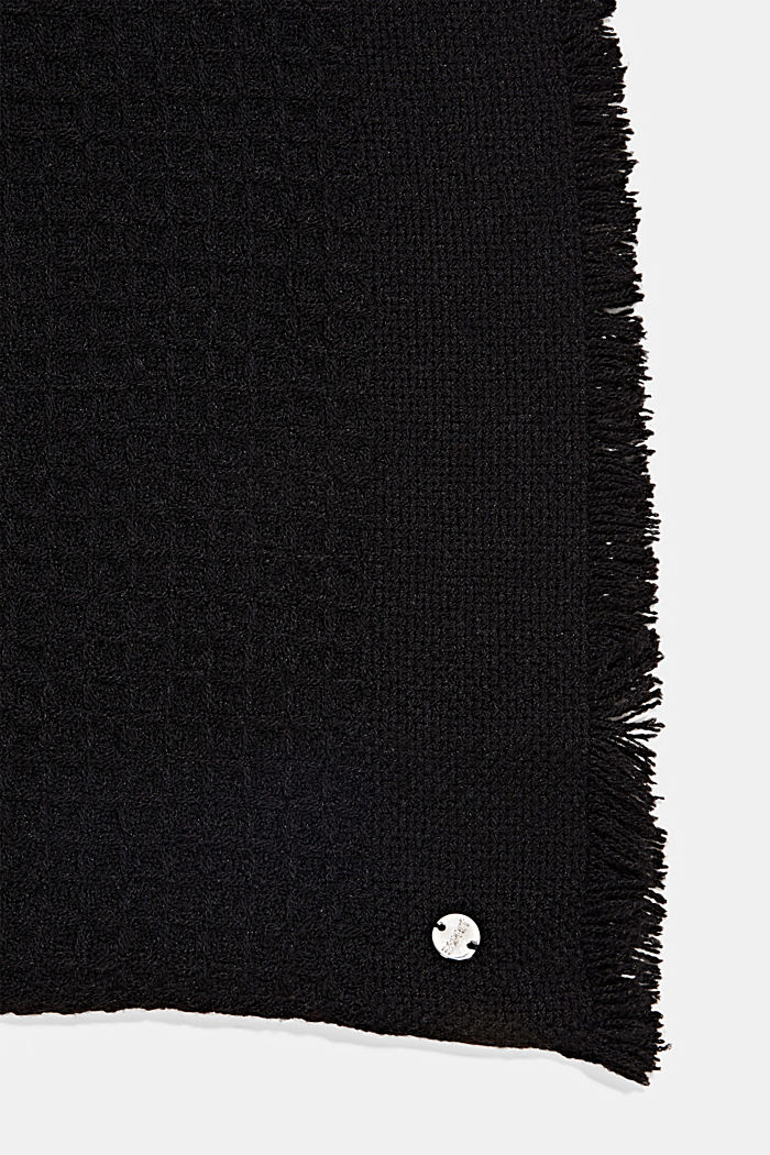 Recycled: mixed texture woven scarf, BLACK, detail image number 2