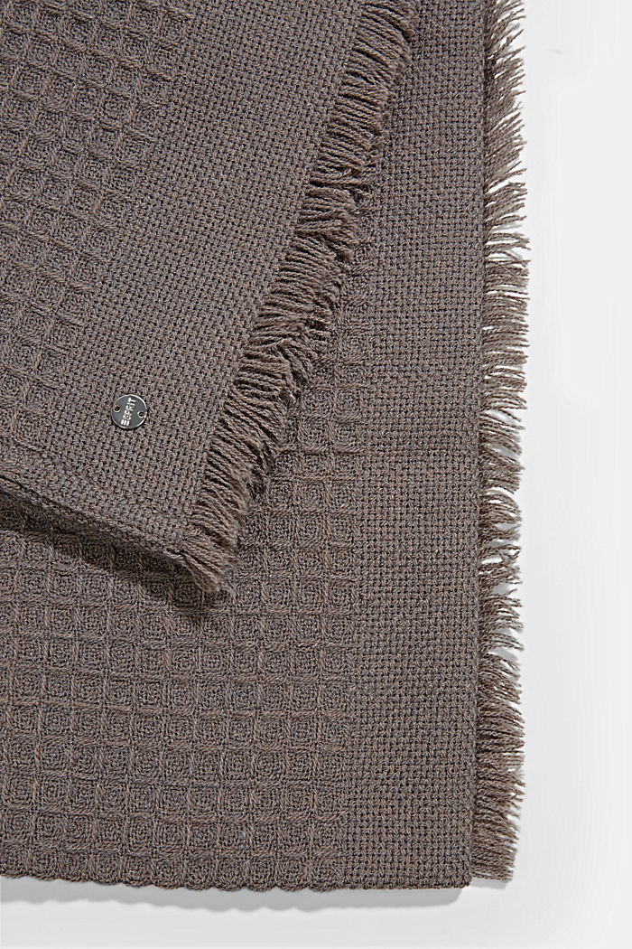 Recycled: mixed texture woven scarf, LIGHT GREY, detail image number 3