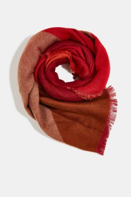 Recycled: scarf with colour blocking, RED, detail