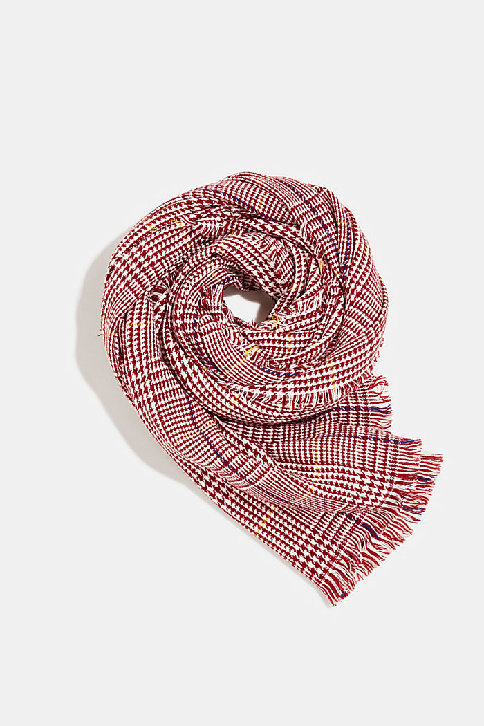 Recycled: XL scarf with a Prince of Wales design, GARNET RED, detail image number 0