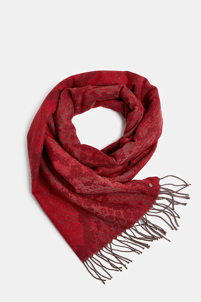 Recycled: soft scarf with snakeskin pattern, GARNET RED, detail image number 0