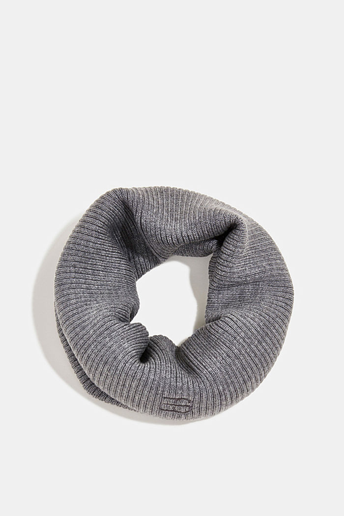 Snood made of 100% merino wool, MEDIUM GREY, detail image number 0