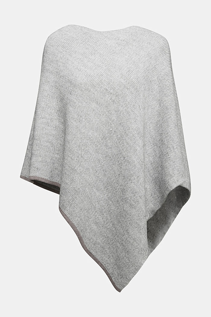 Poncho with alpaca, LIGHT GREY, detail image number 0