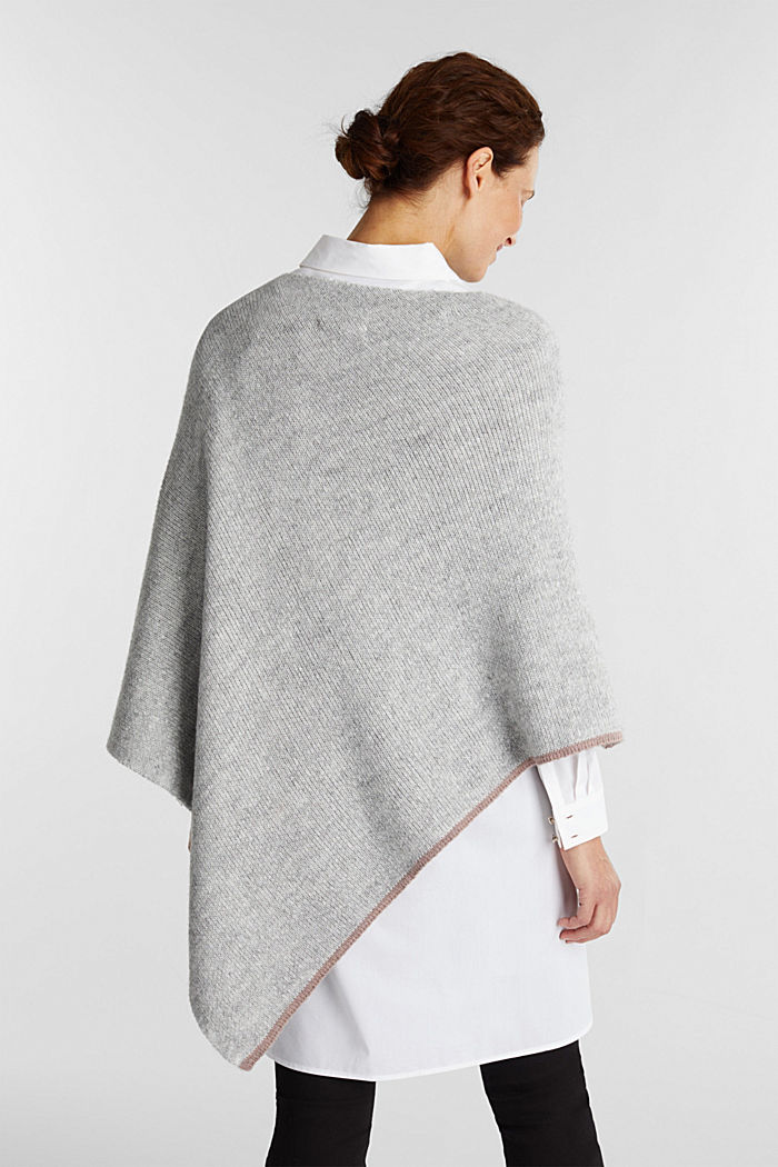 Poncho with alpaca, LIGHT GREY, detail image number 4
