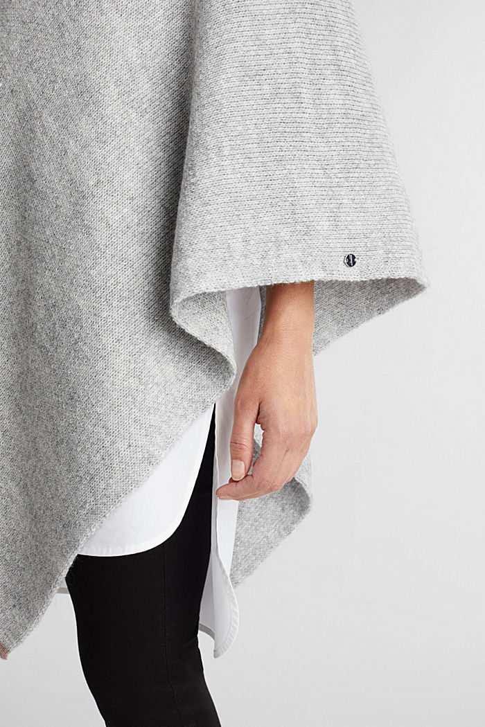 Poncho with alpaca, LIGHT GREY, detail image number 3