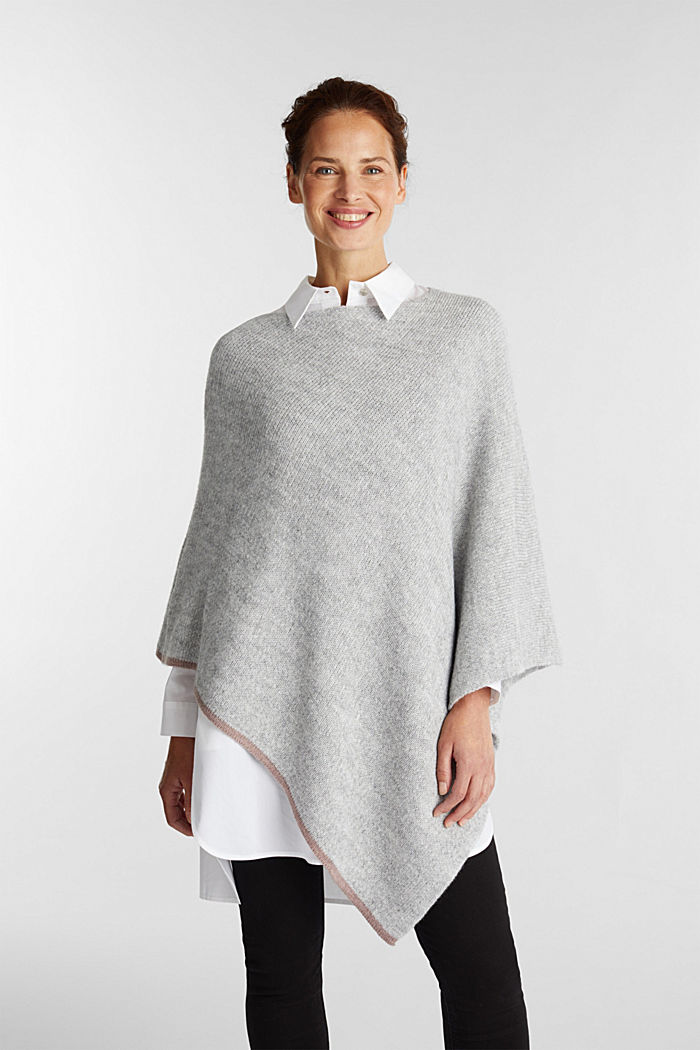 Poncho with alpaca, LIGHT GREY, detail image number 1