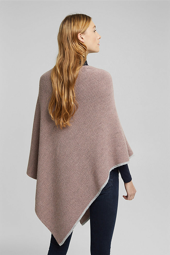 Poncho with alpaca, MAUVE, detail image number 2