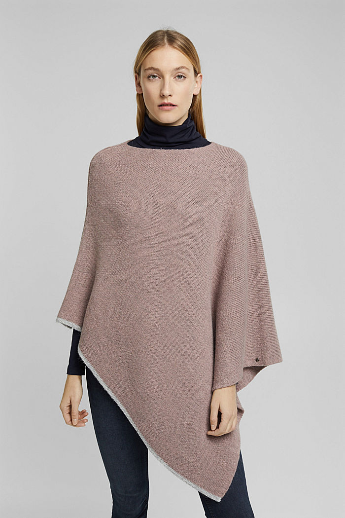 Poncho with alpaca, MAUVE, detail image number 1