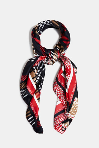 Recycled: satin scarf with mixed patterns