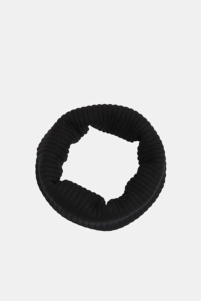 Cuello chal en 100% lana merino, BLACK, detail image number 0